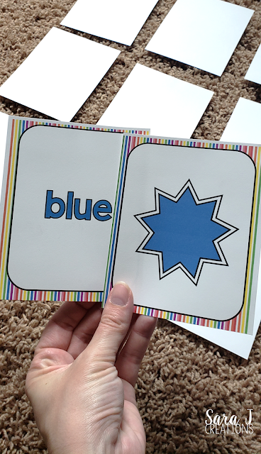 Learning colors memory game blue cards