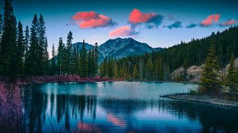 Mountains, Pine Trees, Mount Lorette Ponds, Landscape, Canada, Scenery, Nature, 4K, #6.922