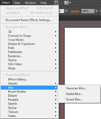 Nhóm lệnh Blur trong menu Effect của Illustrator