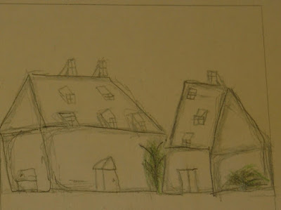 Sketch of two-story buildings at Ephrata Cloister by visiting school student