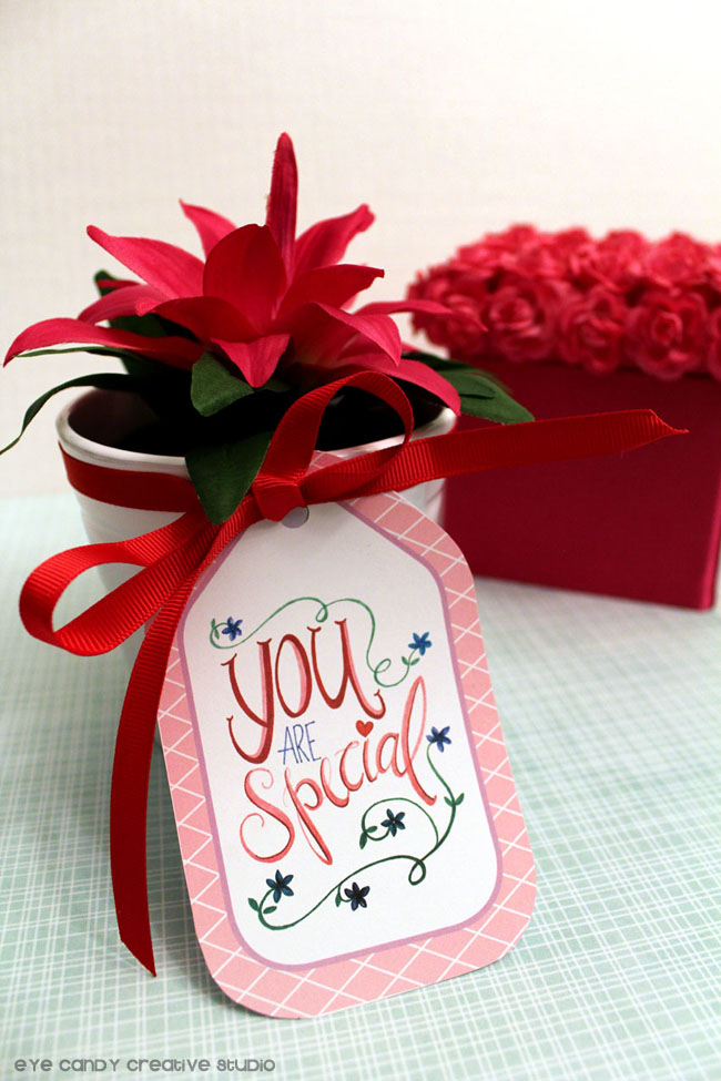 you are special, hand lettering, free gift tags, gift tags, flower pot