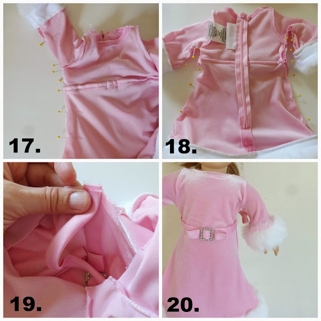 refashion a baby dress into an American Girl Doll (18 inch doll) winter princess dress