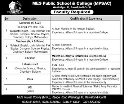 MES Public School And College Jobs 2019