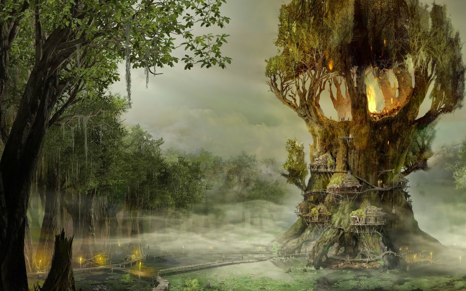 Stunning Hd Fantasy Wallpapers: Beautiful Tree House Fantasy Fairy Tale Images Pictures HD