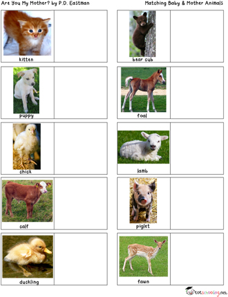Free Mother  Baby Animals Matching Activity Totschooling