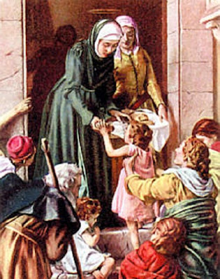 En la imagen Santa Eduvigis repartiendo comida a los pobres