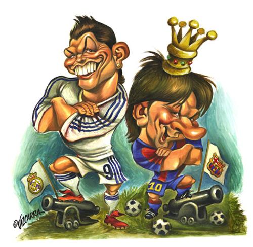 """""""Cristiano Ronaldo y Leo Messi"""" por Joan Vizcarra"""
