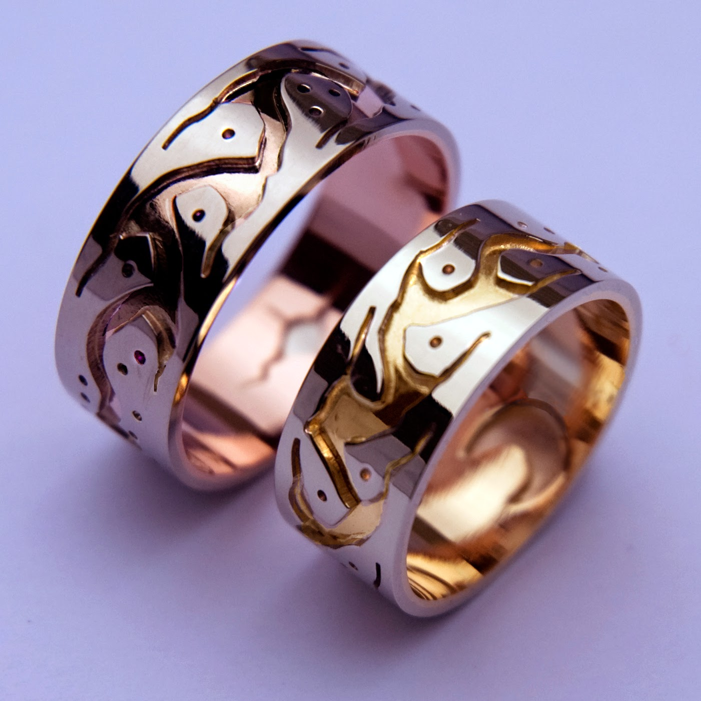 Anishunaabe graphic overlay wedding bands handcrafted by Woodland artist Zhaawano