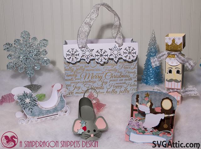 3d svg, sleigh, mouse, ballet slipper, box card and gift bag