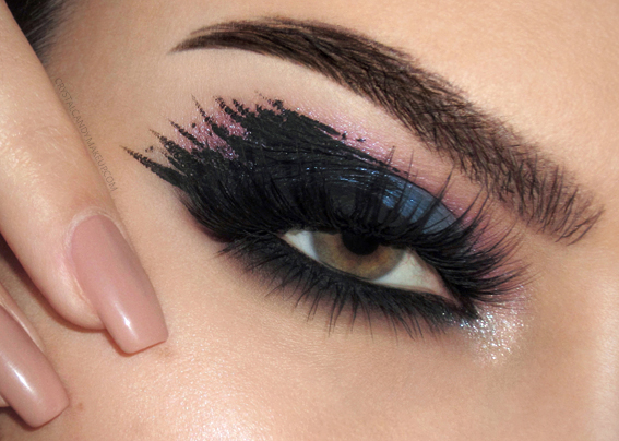 Makeup Look Black Ink MUFE Artist Color Shadows CND Satin Pajamas Blinking Beaute Coquette