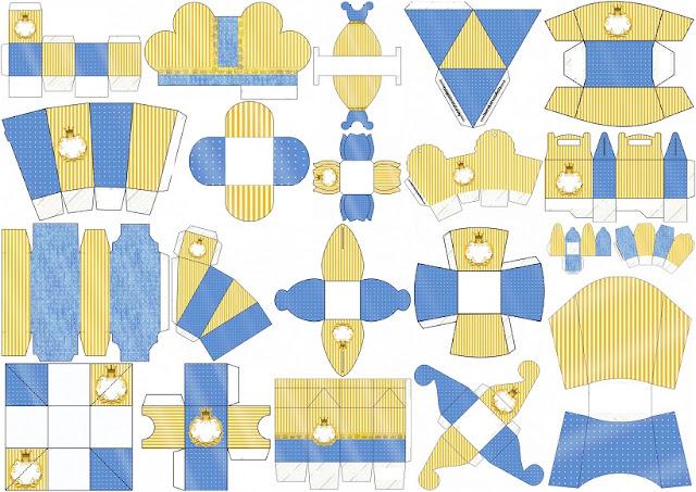 Corona Dorada en Azul y Amarillo: Cajas para Imprimir Gratis.