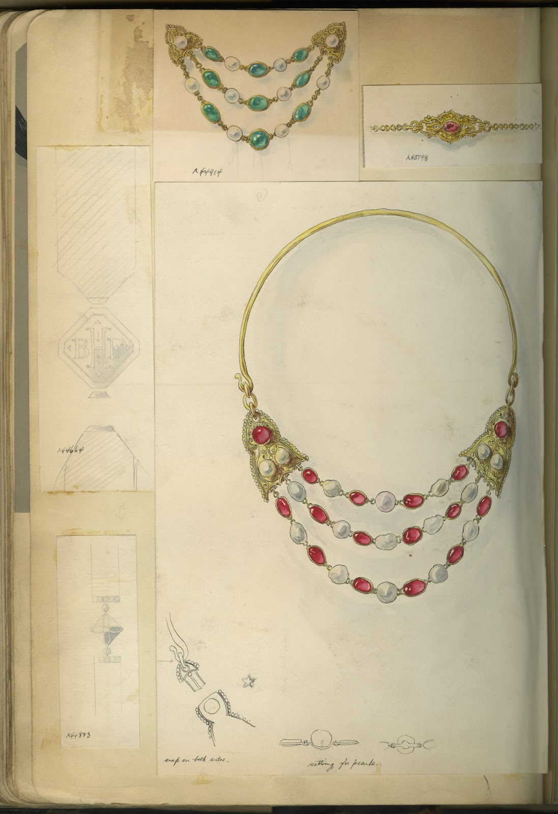 A page of drawn jewelry pieces, including a three-strand necklace.