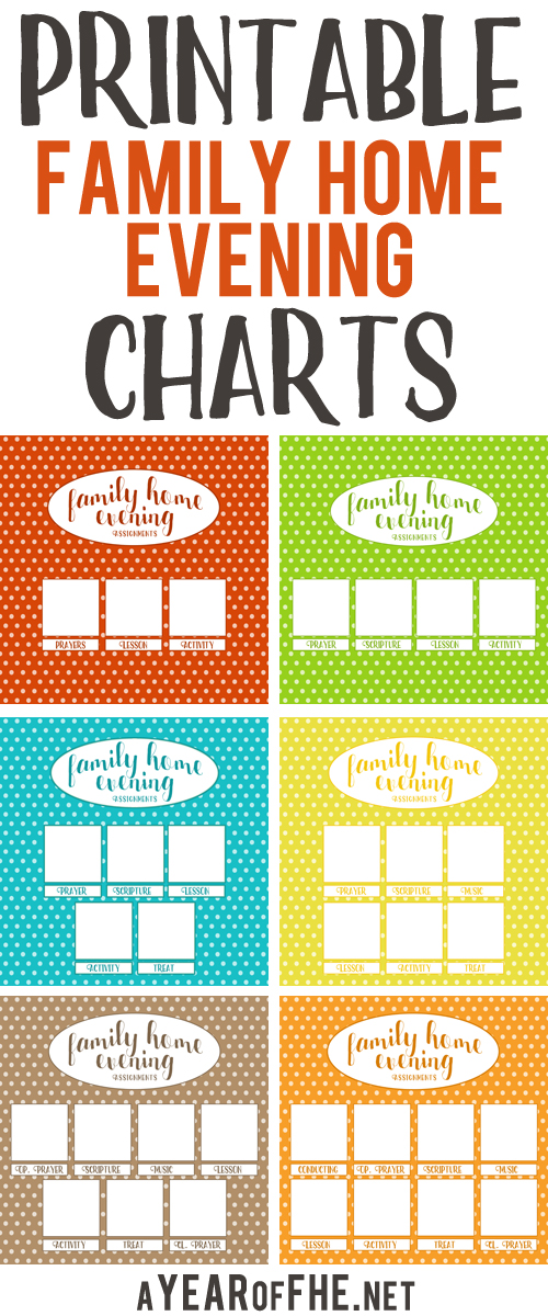 These free printable Family Home Evening charts are SO CUTE! And there are charts for families from 3 members to 8 members!  Directions for printing and display are included.  #lds