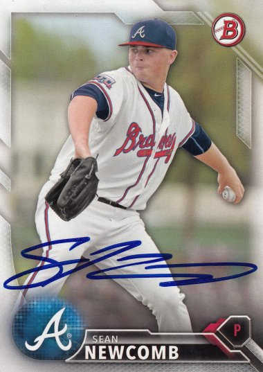 Sean Newcomb Los Angeles Angels 2015 Topps Pro Debut Signed Card