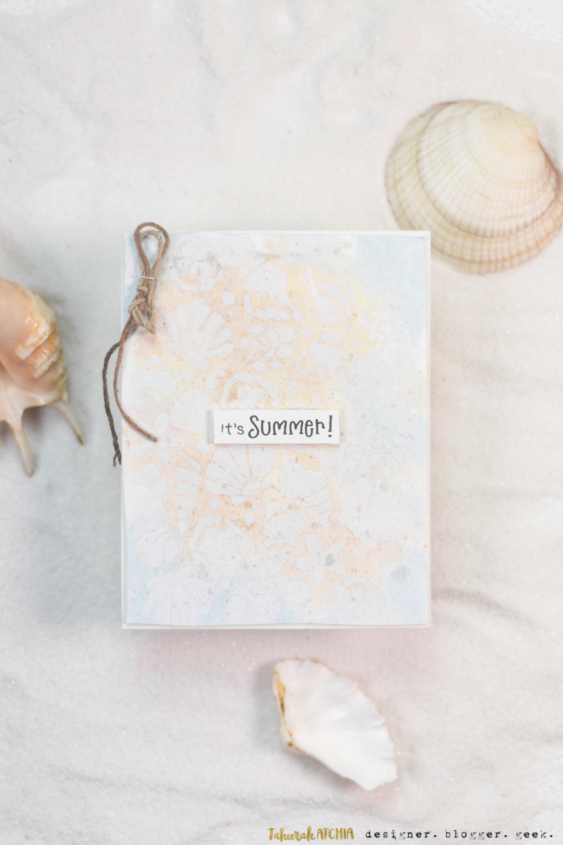 It's Summer Card by Special Guest, Taheerah Atchia | Seashell Stencil and Newton's Summer Treats Stamp Set by Newton's Nook Designs #newtonsnook #handmade