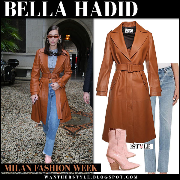Bella Hadid in brown leather trench coat acne linaro and jeans re/done street fashion february 22