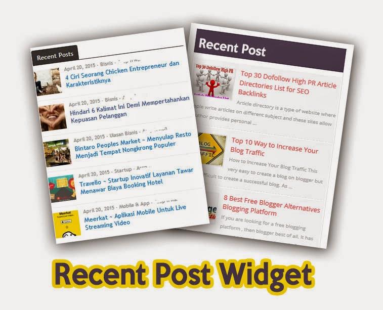 cara menambahkan widget recent post mantab