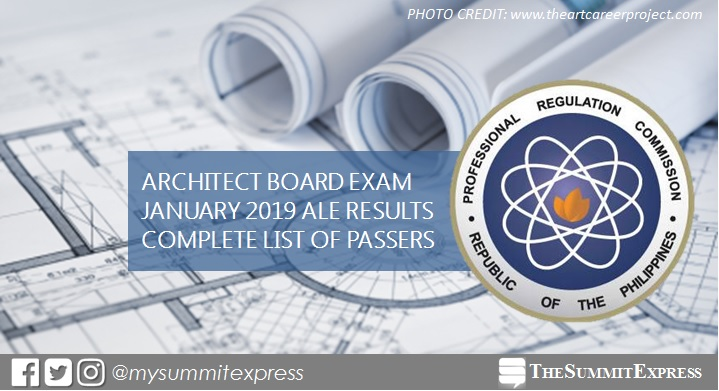 January 2019 Architect board exam ALE list of passers, top 10