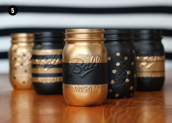 DIY Painted Patterned Mason Jar Tutorial // Bubby and Bean