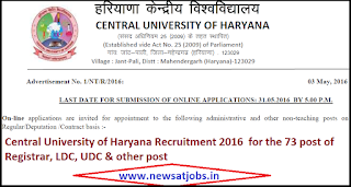 central+university+haryana+recruitment+2016