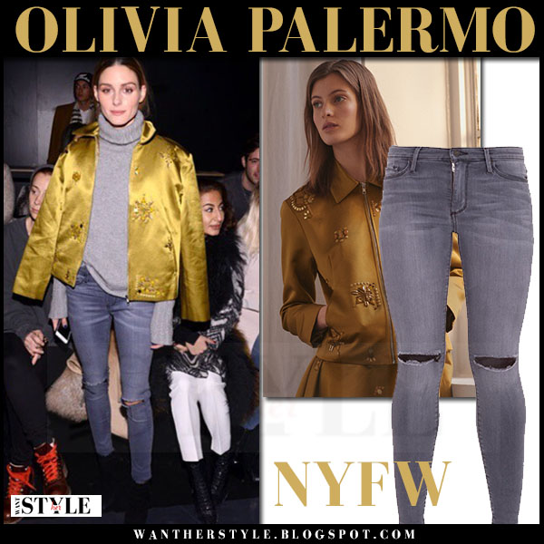 Olivia Palermo in yellow mustard satin noon by noor bomber jacket and grey skinny black orchid gisele jeans front row nyfw what she wore