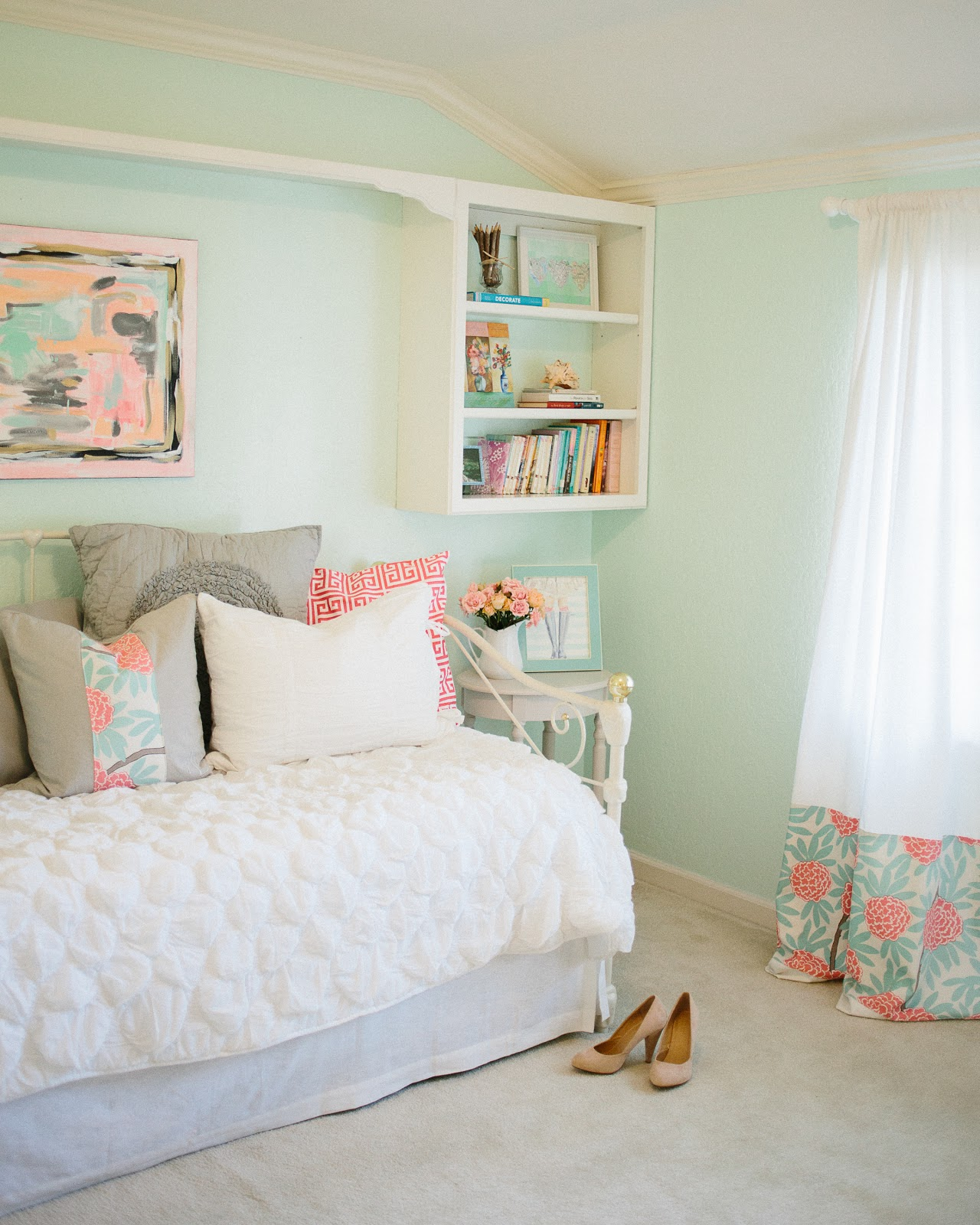 mint color bedroom mint amp peachy pink my bedroom tour reveal michaela 12411