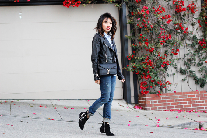 how to style moto leather jacket