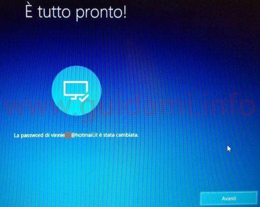 Windows 10 Reimpostazione password schermata È tutto pronto!