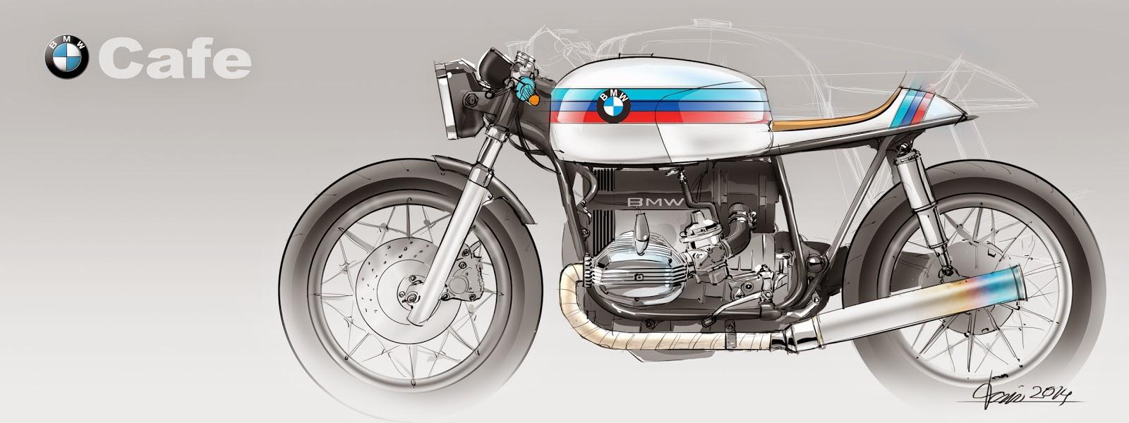 digital sketching: bmw cafe racer -concept