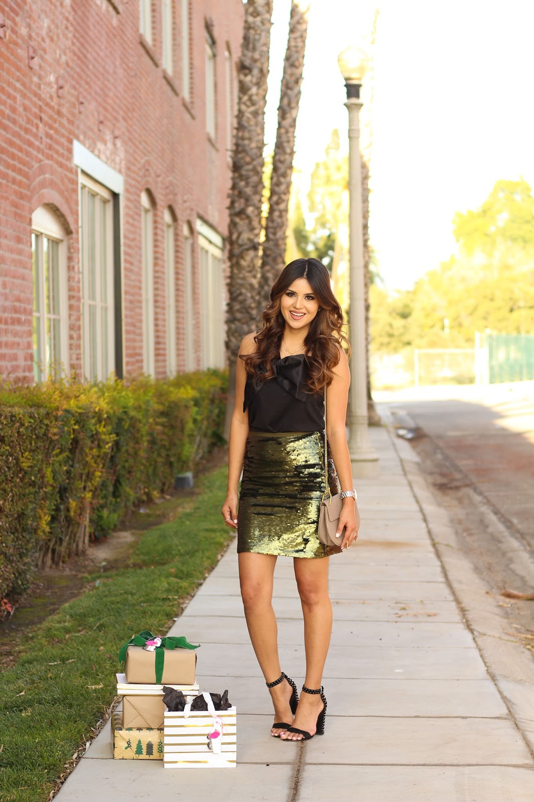Green Sequin Skirt Christmas Outfit With black bow top