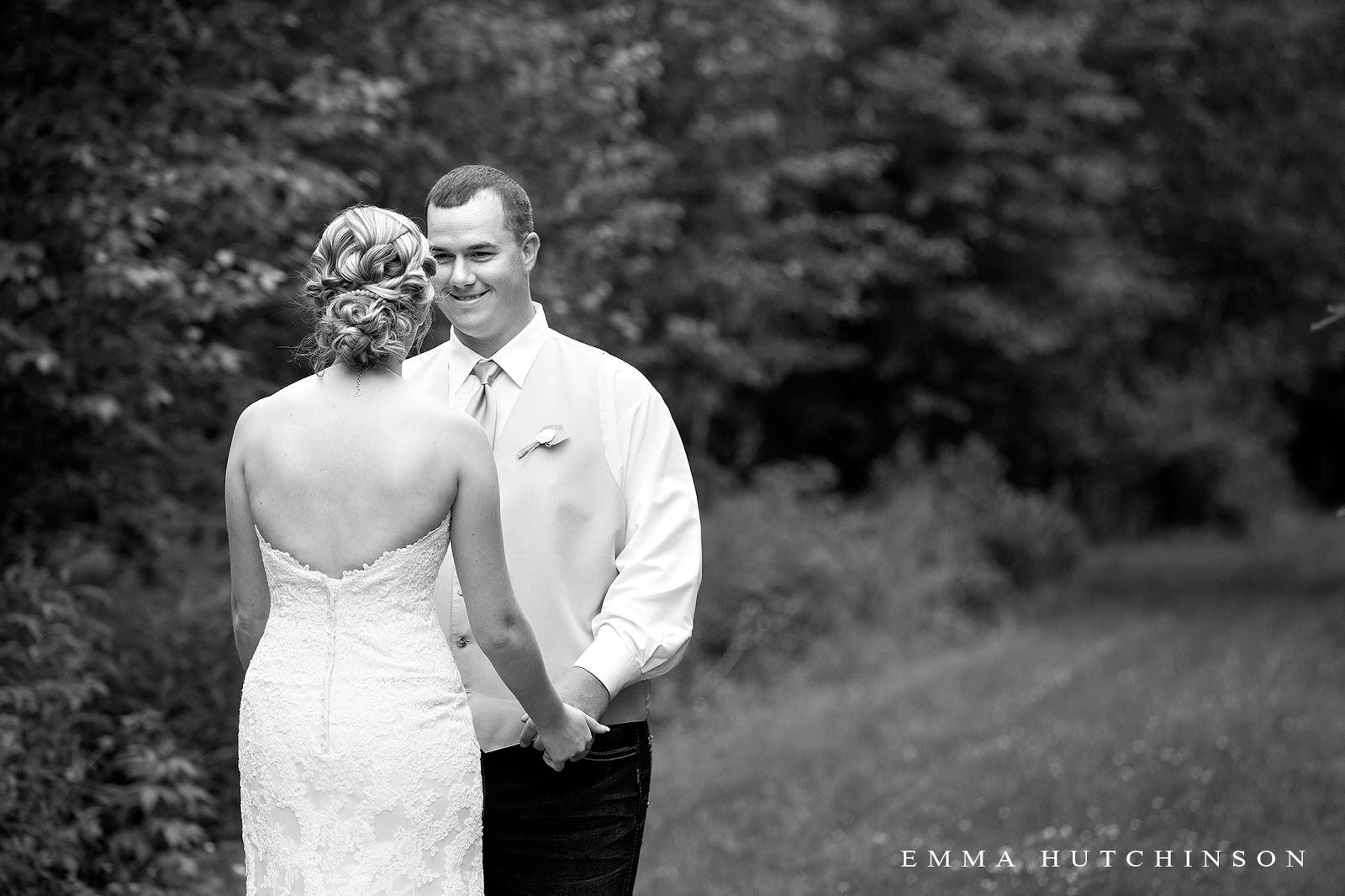 Newfoundland backyard wedding - groom first look reaction to seeing Bride