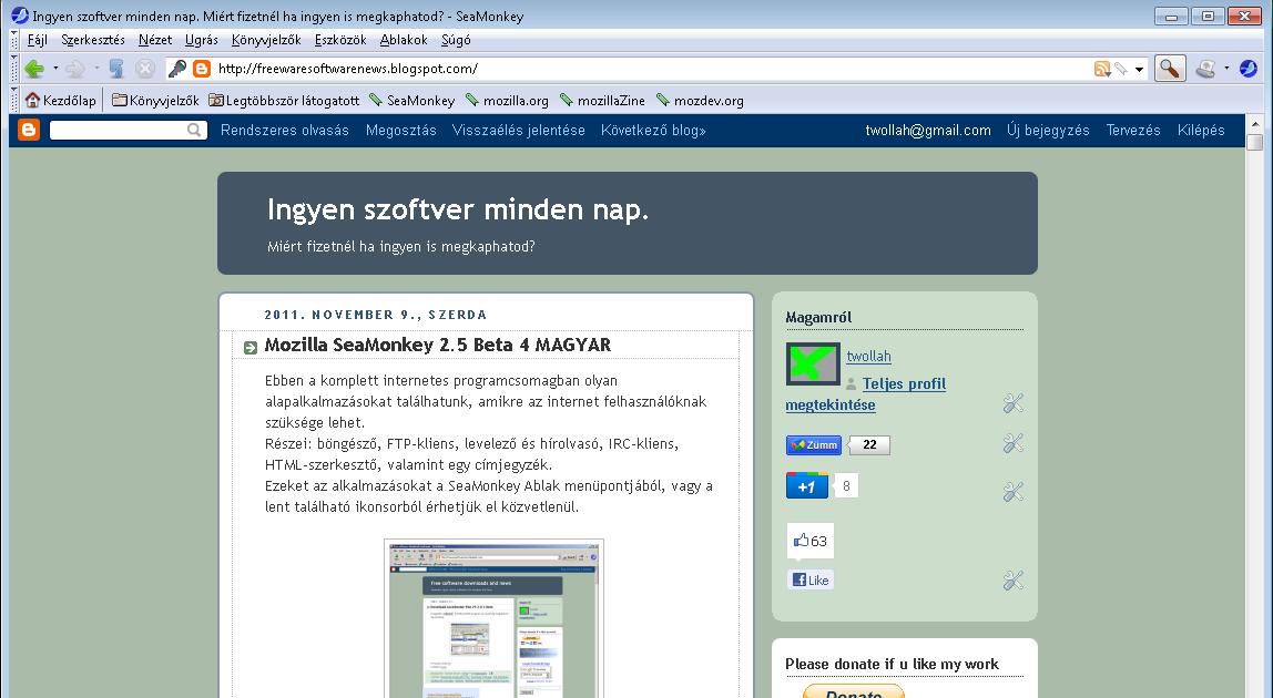 a96767e85d Ingyen szoftver minden nap. - Miért fizetnél ha ingyen is megkaphatod?:  Mozilla SeaMonkey 2.5 Final MAGYAR