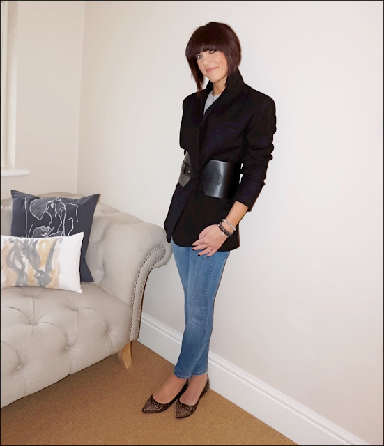 My Midlife Fashion, Zara oversized masculine wool blazer, zara corset belt, marks and spencer pure cashmere crew neck jumper, zara skinny jeans, meme london friendship charm bracelets, boden pointed studded flat shoes