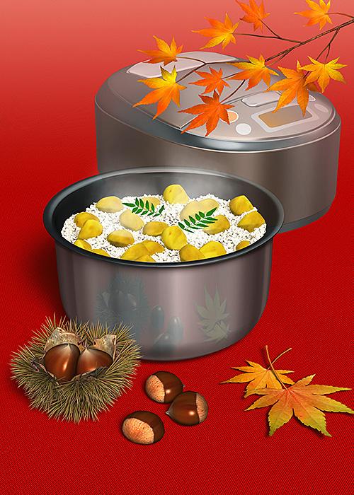 リアルイラスト、3DCG、炊飯器、栗ご飯、鉄製品、秋、紅葉