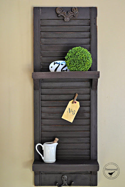 Shutter Shelf painted brown with milk paint