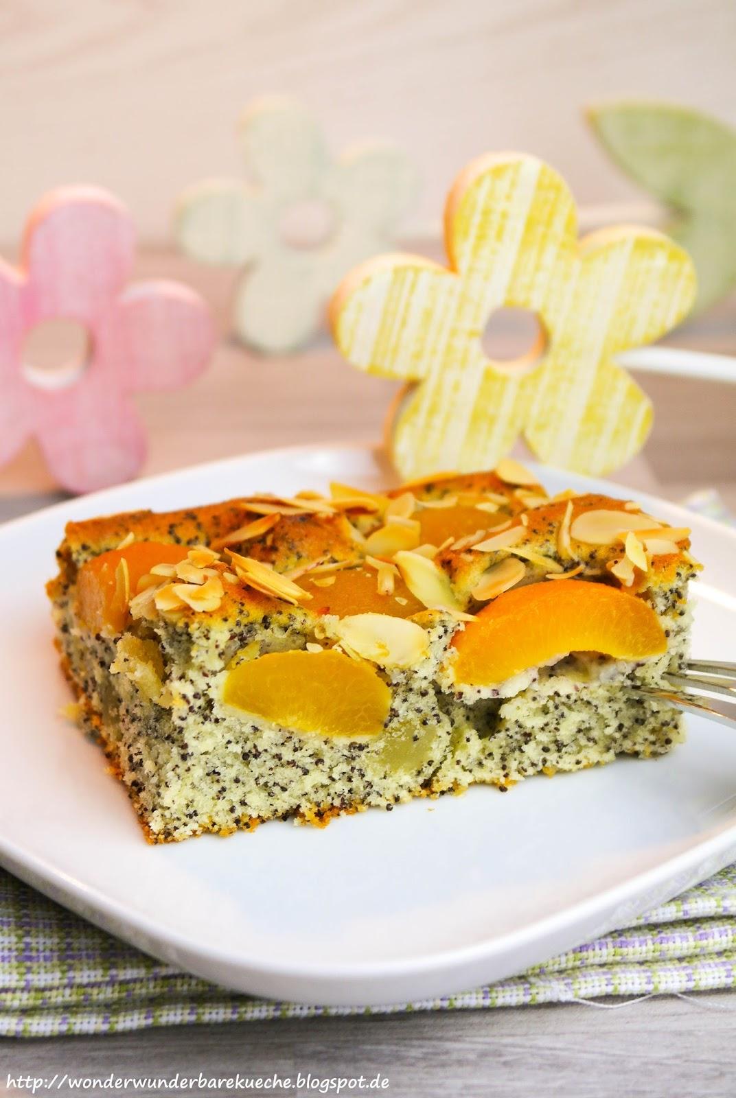 Mohn Marzipan Blechkuchen Mit Aprikosen