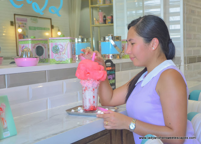 Lady in Ellas Creamery at Riverland Dubai