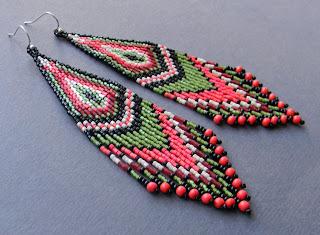 бисерные длинные серьги купить интернет магазин этно украшений ру
