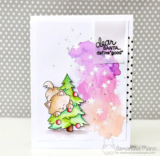 Dear Santa Kitty Card by Samantha Mann | Newton's Curious Christmas Stamp set by Newton's Nook Designs #newtonsnook
