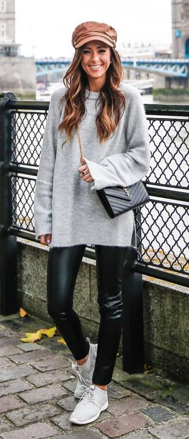 casual style addiction / hat + grey sweaterdress + leather pants + bag + sneakers