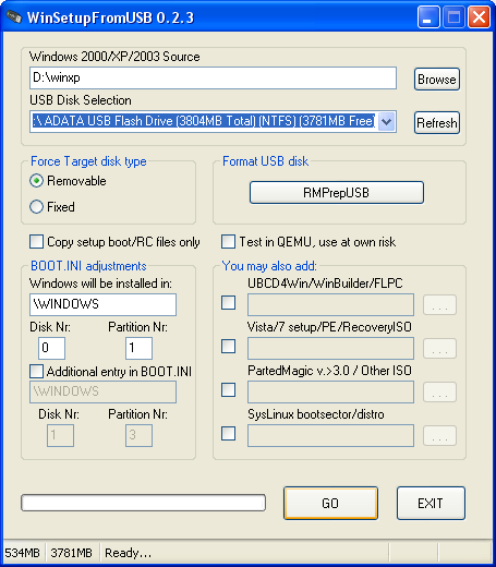 cara install win xp dari flashdisk