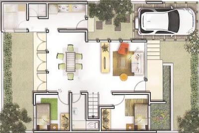 desain dan denah rumah minimalis ukuran 8 x 10 meter