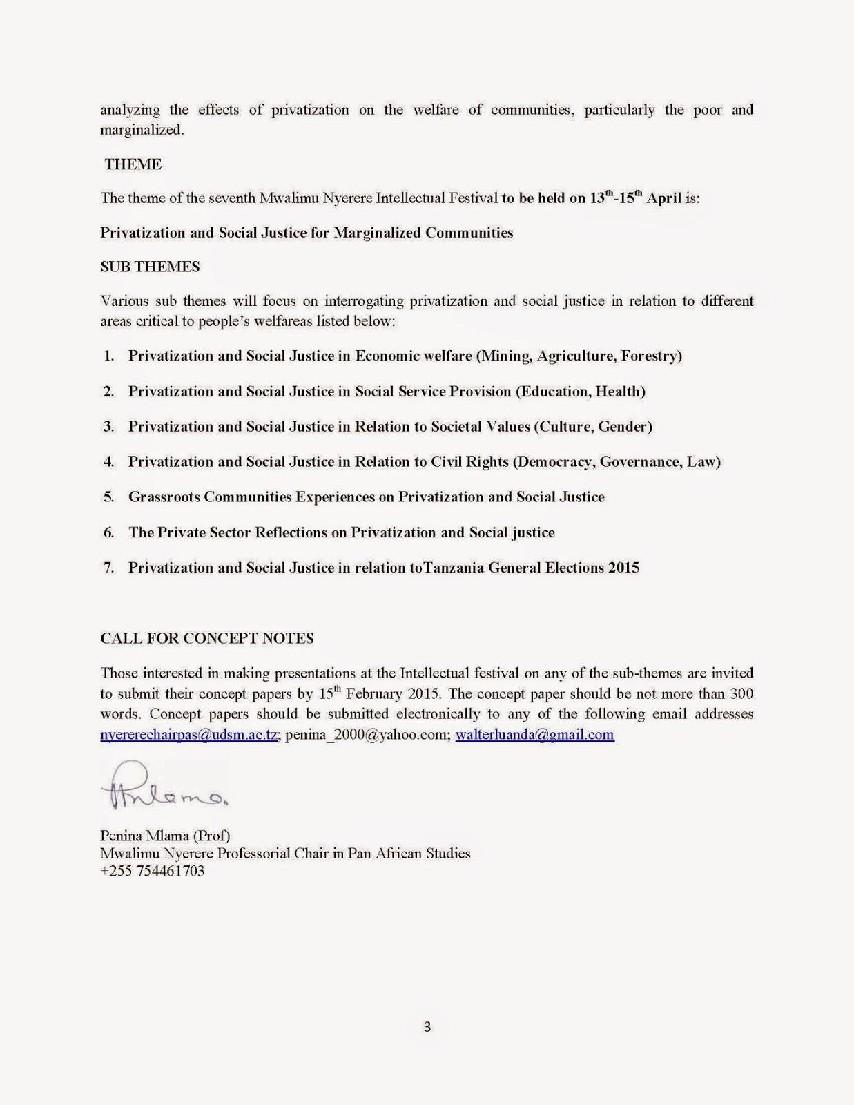 Udadisi Cfp 7th Mwalimu Nyerere Intelllectual Festival