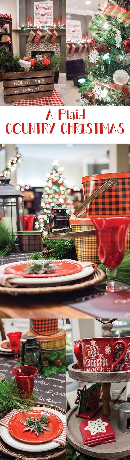 A truly stunning Christmas Home Tour as part of the Christmas in the Country Blog Tour. This Plaid Inspired Country Christmas will knock your socks off. Features tours of the Living room, Dining Room and a Cocoa hot chocolate bar in the Breakfast room. There is so much inspiration for Christmas decorations in this one post. Be prepared to feel like you are cuddled up by the fire in a warm Northwoods comfy cottage! #country #Christmas #Plaid #Holiday decorating #Holiday ideas #Holidays #Christmas decor #Holiday decor