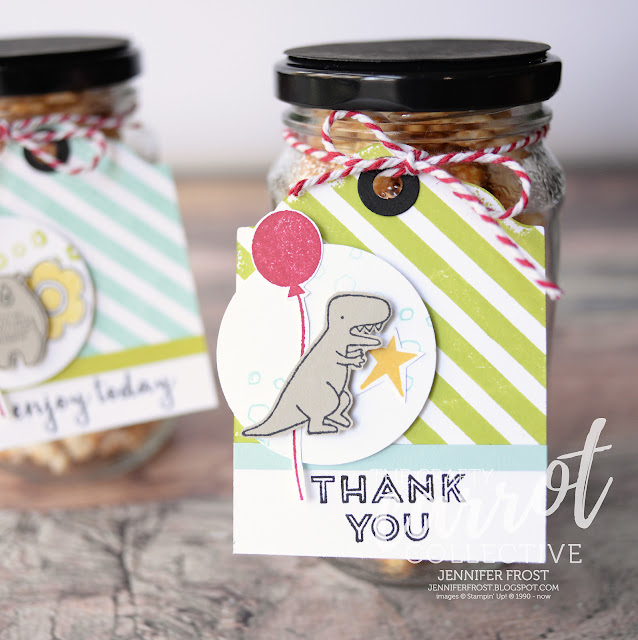 Pieces & Patterns, Party Favour, Gift Tag, Dinosaur, Stampin' Up!, Papercraft by Jennifer Frost, Customer rewards program, The Crafty Carrot Collective