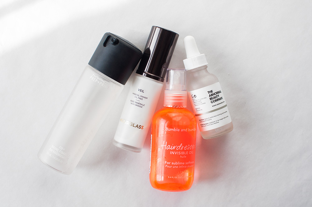 the ordinary niacinamide, bumble bumble hairdresser's invisible oil, hourglass mineral veil primer, mac fix+