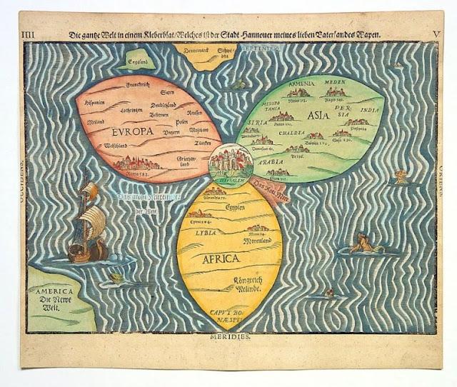 карта Земли с Иерусалимом в центре 1581 год