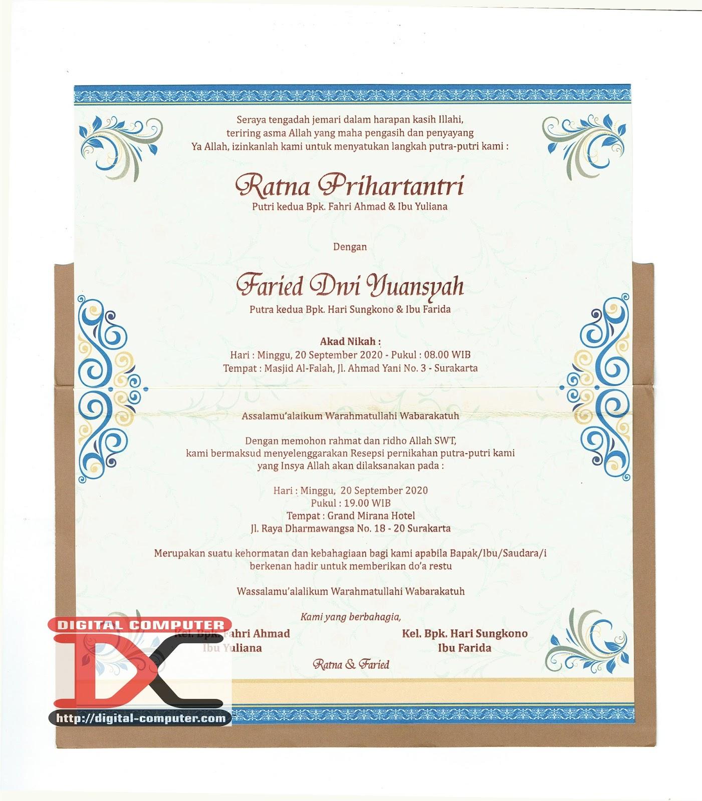 undangan pernikahan harga 3000 rupiah