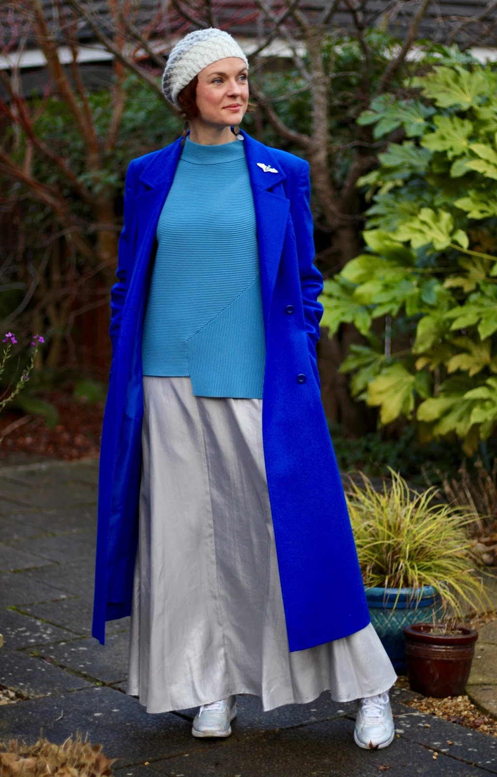 Wearing Blue & Silver in Winter | Maxi Skirt and Cobalt Coat
