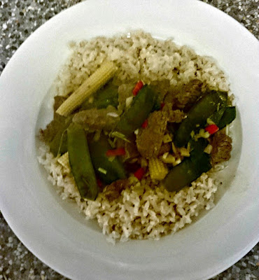 Beef Rendang with Brown Rice, Lemongrass and Mangetout